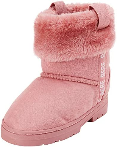 bebe Girls Microsuede Winter Boots with Faux Fur Cuff Size 1 Little Kid Blush product image