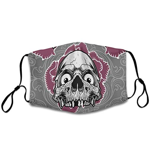NiYoung Adults Men Women Sugar Skulls Face Mask Dustproof Windproof Breathability Mouth Scarf Reusable with Adjustable Earloop for Cycling