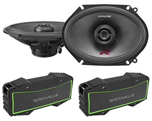 Pair Alpine R-S68 6x8' 300 Watt Car Speakers Type-R RS68+(2) Bluetooth Speakers