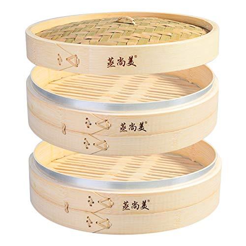 Hcooker 2 Capas Vaporizador de Bambú para Cocina con Bandas de Acero Inoxidable para Cocina Asiática Bollos Empanadillas Verduras Pescado Arroz