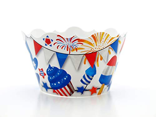 July 4th Celebration Party Supplies Cupcake Wrappers (12 Pack) - 4th of July Barbecue Food Favors,...