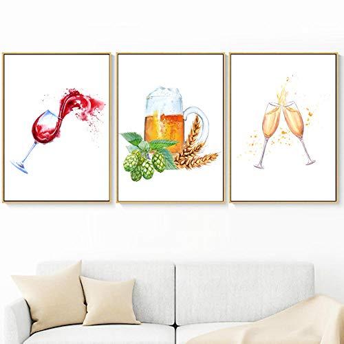 Franse Wijnglas Champagne Bier Nordic Poster En Prints Muur Canvas Schilderij Muur Foto Woonkamer Thuis Decor-40x60cmx3 stks (geen frame)