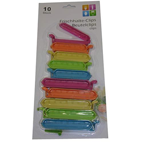TRI 10x Verschlussclips neon Frischhalte Gefrierbeutel Clips Beutel Klammern 8-10cm