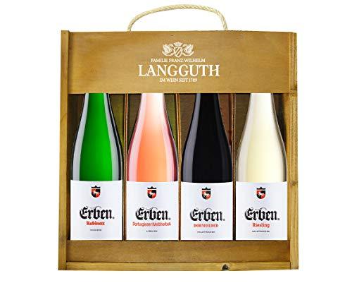 ERBEN Holzkiste (4 x 0.75 l) - Weingeschenk Deutschland Wein-Set Qualitätswein - Geschenkidee für Geburtstag Jubiläum Weihnachten