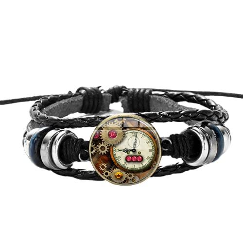 Casual Retro pulsera de cuero tejido Punk engranajes rojo gema movimiento reloj foto cúpula metal encantos pulsera hombres joyería