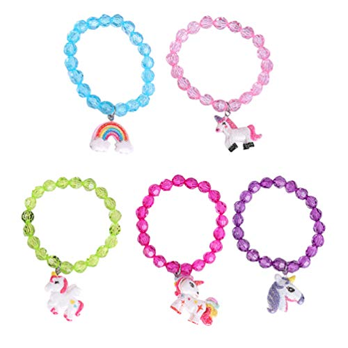 Tomaibaby 5pcs Unicorn Bead Bracelets Rainbow Bracelet Unicorn Pendant Bracelet Charm Bracelet Friendship Bracelet for Girls Unicorn Birthday Party Favors Supplies
