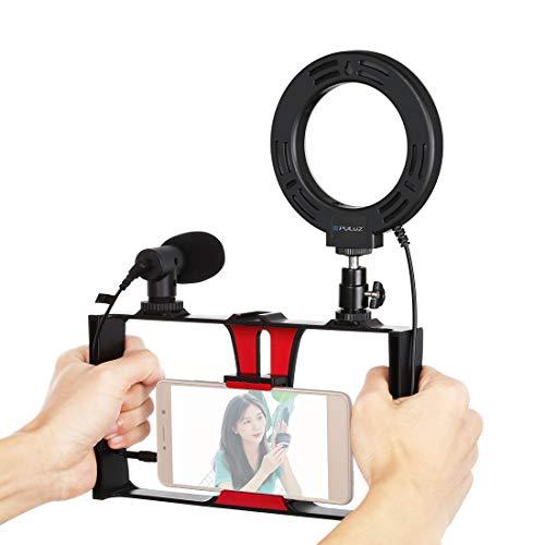 Vlogging PKT3027 - Soporte de aluminio para iPhone, Galaxy y otros smartphones (rojo + luz de relleno + micrófono)