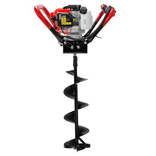 "XtremepowerUS V-Type 2 Stroke Gas Ice Post Hole Digger 55CC EPA Motor w/Ice Auger Bit Powerhead (Digger + 8"" Ice Bit)"