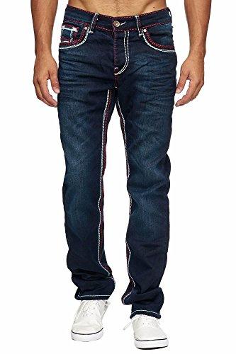 Amica MEGASTYL Herren Männer Jeans Basic Streetwear Dicke Nähte Regular Fit, Größe:W30 / L32, Farbe:Dark Blue