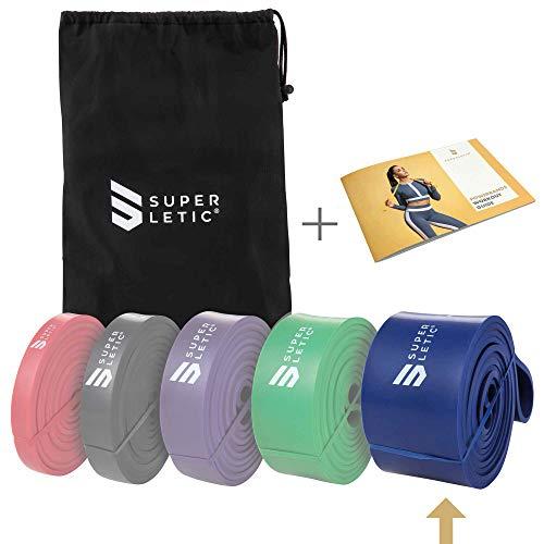 SUPERLETIC Powerbands, Widerstands-Fitness-Bänder, Pullup und Resistance-Training, 5 Stärken, rot, schwarz, lila, grün und blau, mit Workout-Guide (5 - XX-Heavy (Blau))