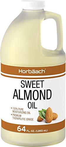 Sweet Almond Oil 64 fl oz | Moisturizing Oil for Hair and Skin | Bulk Size Carrier Oil | Vegan, Non-GMO | By Horbaach
