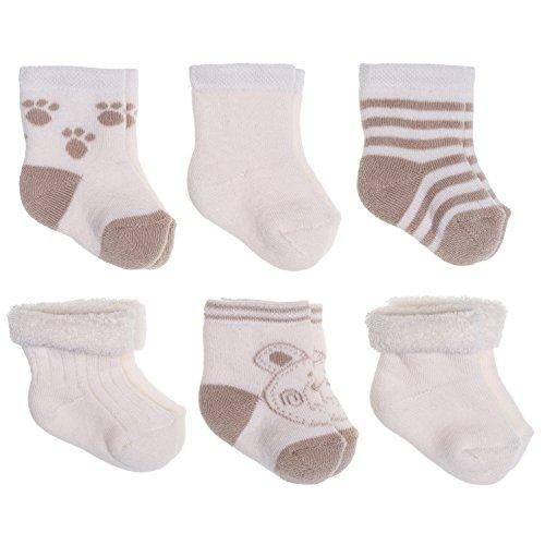 Jacobs Calcetines de recién nacido / Patucos bebé de algodón rizado con motivos ositos - Lote 6 pares (0-3 meses) - Color: Beige/crema