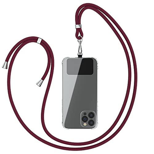 EAZY CASE Universal Handykette geeignet für alle Smartphones, Kette zum Umhängen, Hülle mit Kordel, Smartphonekette für Unterwegs, Handyband mit jeder Hülle kombinierbar, Burg&er Rot