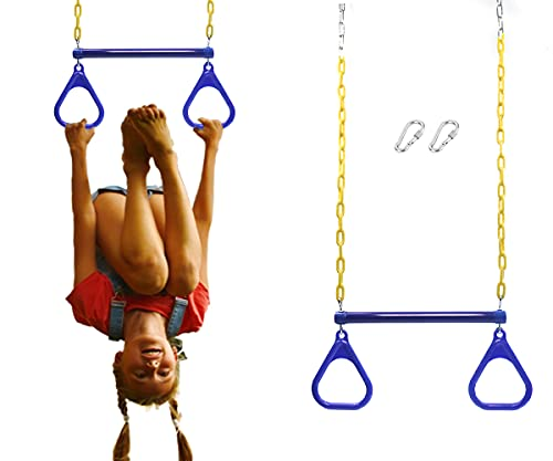 """ORANGUTAN 17.6"""" Monkey Bars for Kids Swing Set Accessories Outdoor - Trapeze Swing Bar for Playground Accessories with 48"""" Coated Chains 2 Snap Hooks - Hanging bar for Kids Jungle Gym Accessories Blue"""