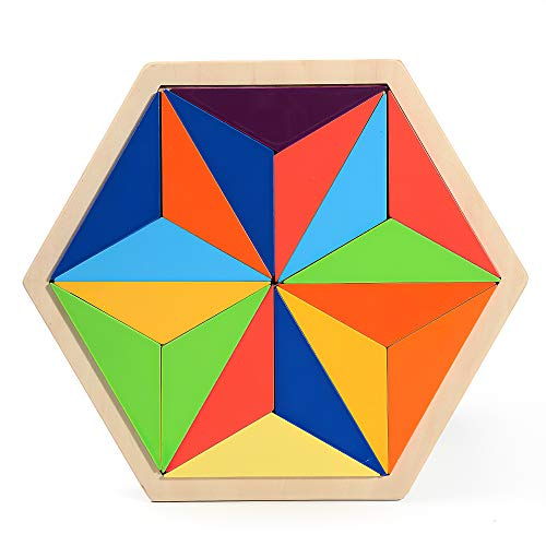 18pcs Wooden Rainbow Triangle Stacker Geometry Building Blocks, Preschool Learning Toy Educational Puzzle for Adults Kids Toddler
