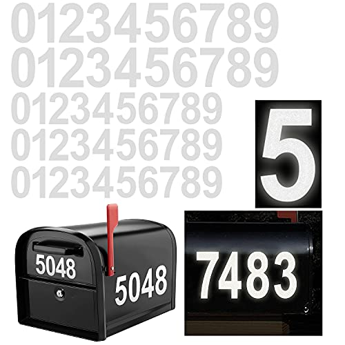 Reflective Mailbox Numbers Sticker Decal Die Cut Classic Style Vinyl Waterproof Number Self Adhesive 5 Sets (3