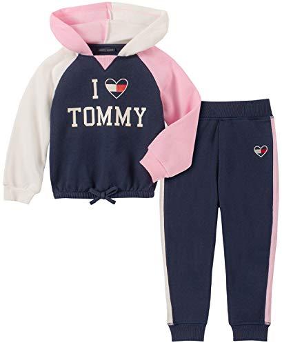 Tommy Hilfiger Baby Girls 2 Pieces Jog Set, Peacoat/Pink/Vanilla, 12M