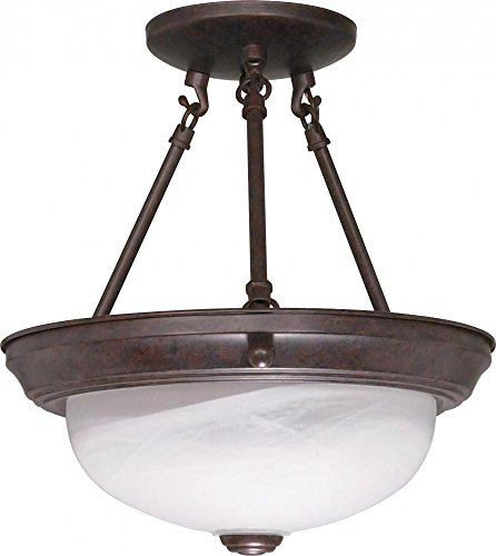 NUVO 60/208 Two Light Semi Flush Mount, Old Bronze/Alabaster Glass