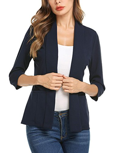 Concep Lightweight Casual Long Sleeve Open-Front Blazer Jacket Womens Work Office Coats Plus (Navy Blue, M)