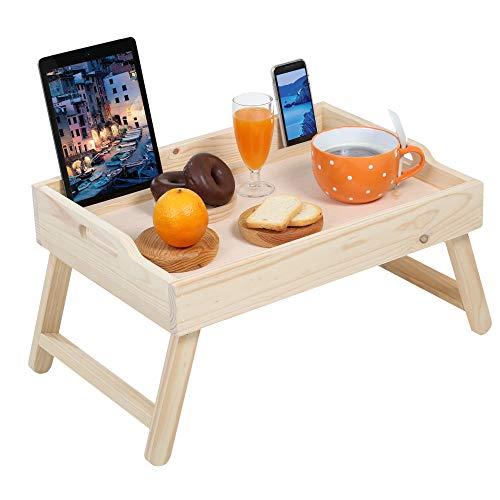 Aperlab Bandeja de madera con patas altas plegables, para comer en la cama o sofá. Grande, puede soportar un ordenador portatil, al mismo tiempo que tomas un café, con soporte para tablet y movil.