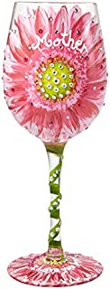 """Designs by Lolita """"Mom's Love in Bloom"""" Hand-painted Artisan Wine Glass, 15 oz."""