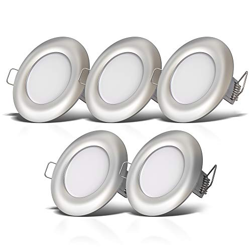 B.K.Licht I 5er Set LED Bad Einbauleuchten I Ultra Flach 25mm I Ø85mm I Matt-Nickel I 5 x 5W LED Platinen I 5x460 Lumen I 4.000K Neutralweiß I IP44 I Bad-Einbaustrahler