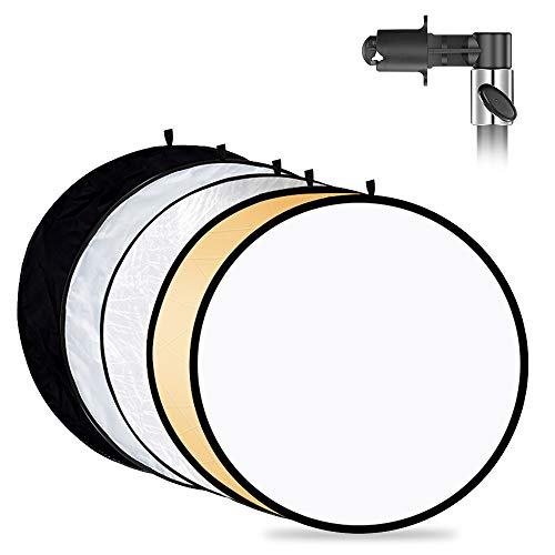 Mountdog Photography Reflector with Clip 24 Inches/ 60cm 5 in 1 Photo Light Collapsible Diffuser with Bag & Reflector Holder for Studio Photography Outdoor Lighting Translucent Silver Gold White Black