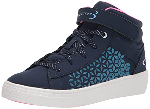 Concept 3 by Skechers Girl's Splender Lace-up High Top Sneaker, Navy/Pink, 4 Medium US Big Kid