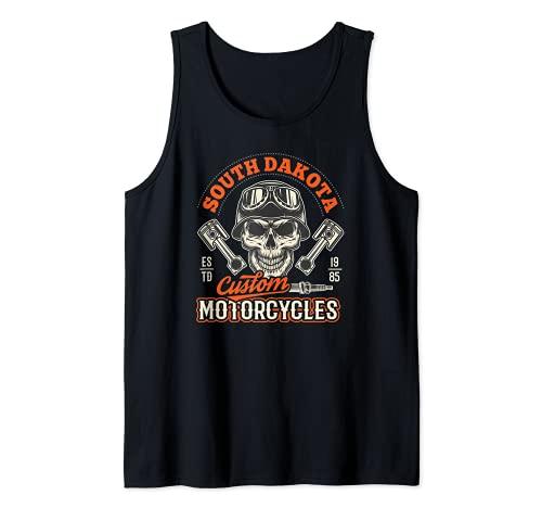 South Dakota Custom Motorcycles Hog Riders Skull Graphic Camiseta sin Mangas