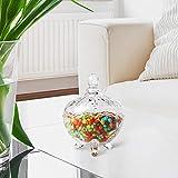 ComSaf Bonboniere mit Deckel Ф14cm, Zuckerdose aus Glas Klein, Lebensmittelechter Glasbehälter für Snacks - 2