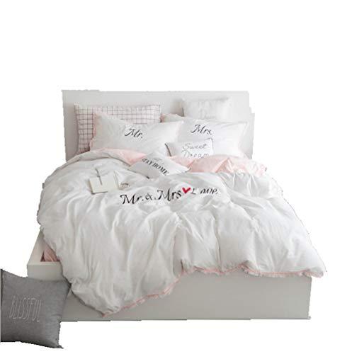Teyun. Bettwäsche-Satz Twill Craft gewaschener Baumwolle Stickerei, weiß, Rosa. (Color : White, Size : 120CM)