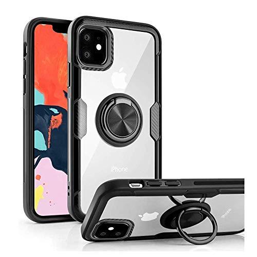 iPhone 11 ケース リング付き 360度回転 スタンド機能 背面強化ガラス 透明 磁気カーマウント マグネット式 車載ホルダー 擦り傷防止 落下防止 iPhone 11 専用 保護カバー (ブラック)