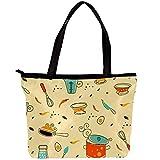 Mode Frauen Umhängetasche Twill Stoff Handtasche Große Kapazität Strandtasche Einfache Einkaufstasche für Reisesport Casual Shopping und Arbeit Cartoon Küchenherd 30x10.5x39cm