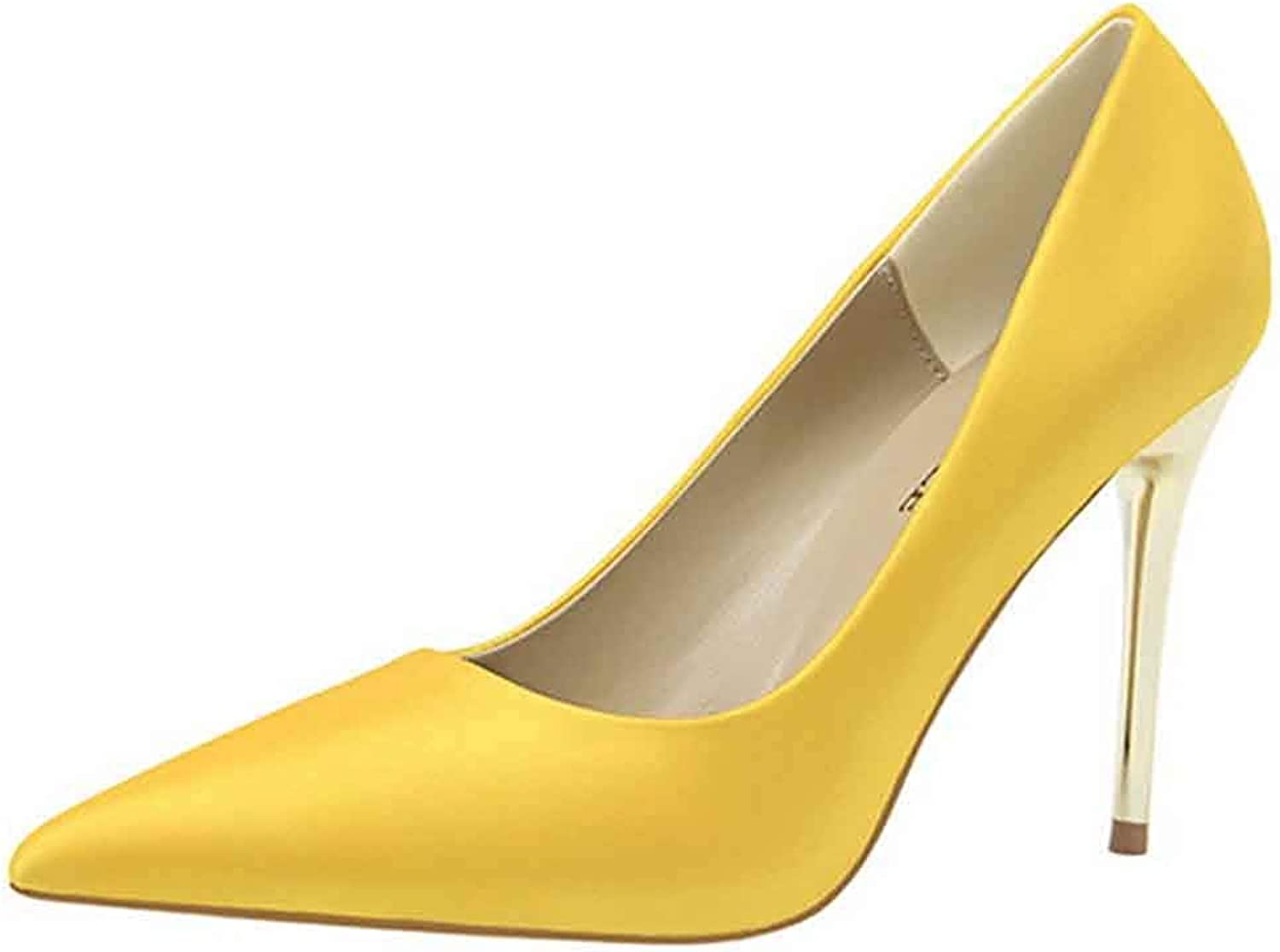 Unm Women's Elegant Simple Low Cut Slip On Pointed Toe Stiletto High Heel Pumps Party Wedding shoes