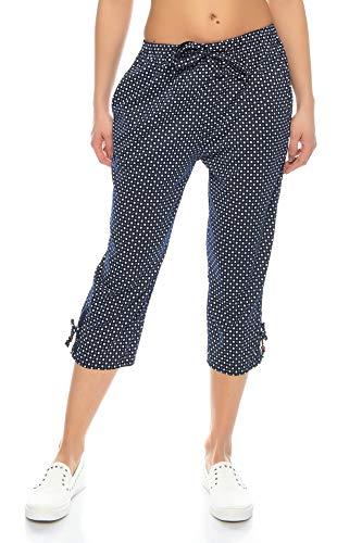 Kendindza Damen Sommerhose Caprihose leicht Sommer Hose Shorts Capri | Kurze 3/4 Schlupfhose zum binden | Uni-Farben (Dunkel-Blau, XL)