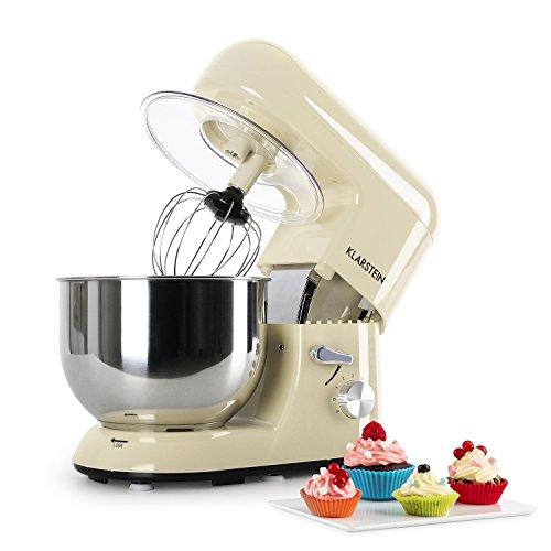 Klarstein Bella Morena - Robot de cocina, Batidora, Amasadora, 1200 W, 5,2 litros, 1,6 PS, Batido planetario, 6 niveles de velocidad, Recipiente de acero inoxidable, Crema