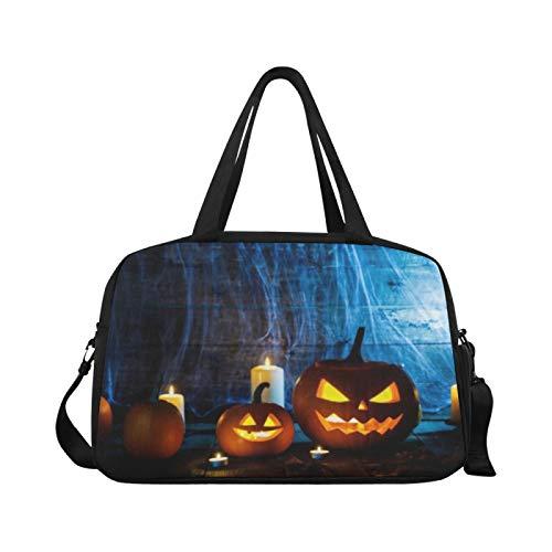 Sport Sporttasche Jack O Laterne Halloween Kürbisse Spinnen Reisetaschen Reisetasche Handgepäck Workout Fitness Handtasche Übernacht Umhängetasche für den Außenbereich