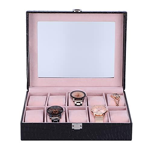 Estuche de exhibición de reloj, organizador de reloj negro de escritorio 10 piezas ranuras cuero artificial multifunción rectangular para almacenamiento para exhibición