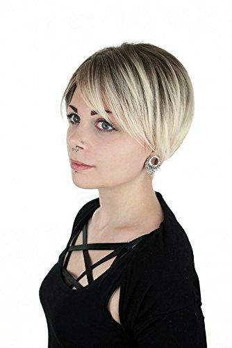 Prettyland Hell-blond Kurz-haar Glatt Pixie Perücke Gestuft Ombré-effekt Strähnen Wig Alltag C1352