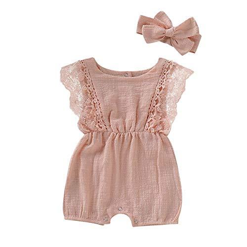 Hongyuangl Sommer Strampler Shorts, Baby Mädchen Body aus Baumwolle und Leinen Einteiler Jumpsuit Shorts + Stirnband