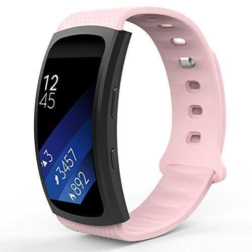 MoKo Armband für Samsung Gear Fit 2 / Fit2 Pro - Silikon Sportarmband Sport Band Uhrenarmband Erstatzband mit Stiftschließe für Gear SM-R360 / SM-R365 Smartwatch, Weiß, Bandlänge 126mm-213mm, Rosa