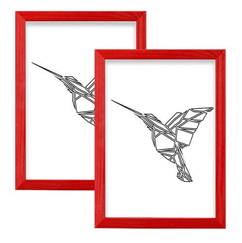 Postergaleria Cornice | 18x24 | Set di 2 | Rosso | Legna | Plexiglass | 8 colori | 10 taglie | Cornice per poster | Cornice