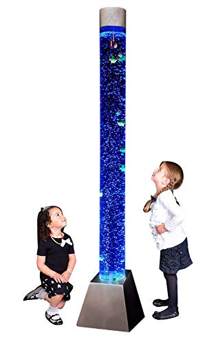 "Sensory LED Bubble Tube - 6 Foot""Tank"" With Fake Fish and Translucent Balls, With Remote Control - Large Floor Lamp with 8 Changing Lights Colors - Stimulating Home and Office Décor - by Playlearn"