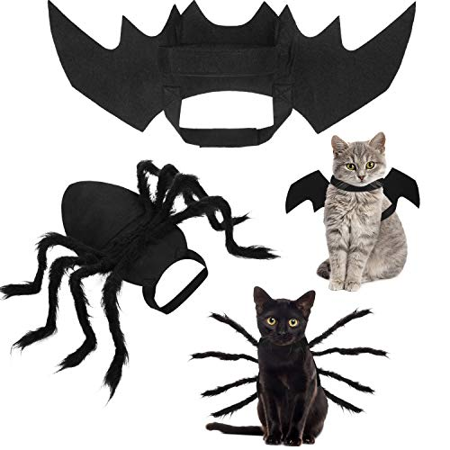 1 Pieza Disfraz de Araña Mascota y 1 Pieza Ala de Murciélago de Gato Mascota Trajes de Disfraz de Halloween Trajes de Disfraces Lindos de Halloween de Mascotas Adecuado para Gatito Cachorro Gato
