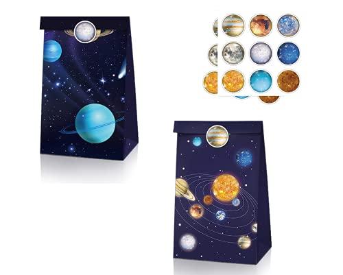 12 bolsa regalo de fiesta temáticas del universo estrellado, 18 pegatinas de...