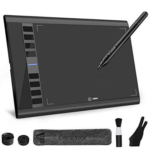 LANSRAYOL Drawing Tablet 10 x 6 Inch Ugee M708 Graphic Tablet for Painting Photo Editing Digitising Tablet Wireless Battery-Free Pen Compatible with Mac Windows with Pen Pocket Glove