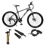 VIPIH Mens Mountain Bike 27.5-Inch Wheels, Alumiunm Frame, 21 Speed Thumb Shifter, Front Suspension, Dual Disc Brakes Women Adult Bicycles White-Black w/mudguards, Bike Lock, Air Pump