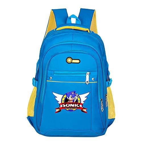 Sonic The Hedgehog Freizeitrucksack Daypack Rucksack-Schultasche Wandern Jungen und Mädchen Trend Trekkingrucksack Art und Weise Sports Wild Style Rucksack für Kinder und Jugendliche