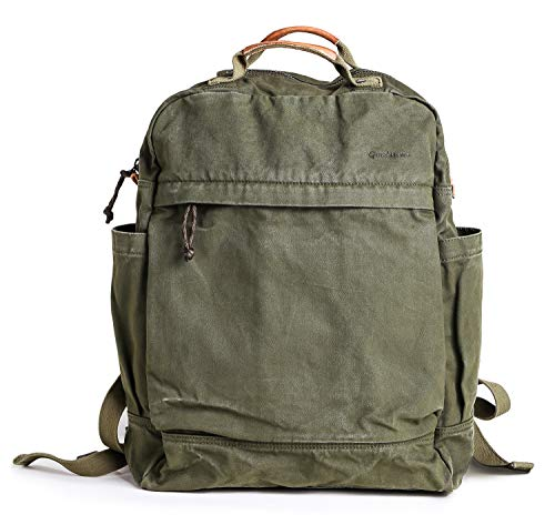 Gootium Canvas Backpack for Women Vintage Style Zipper Bag Men's Casual Daypack Cloth Outdoor Travel Rucksack, Military Green