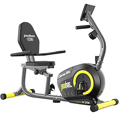 pooboo Magnetic Recumbent Bike Exercise Bike with 8 Levels Resistance Indoor Cycling Stationary Bike for Adults Seniors with Monitor and Adjustable Seat